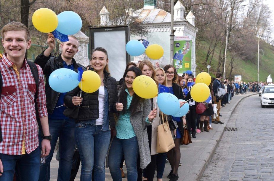 ES prekybos sutartį su Ukraina palaikanti akcija Nyderlanduose