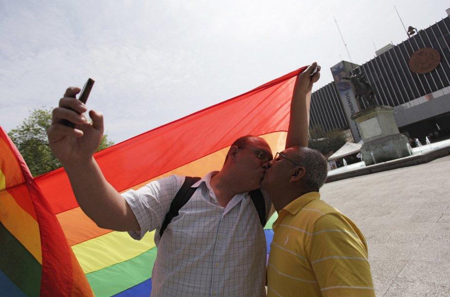 Homoseksualios poros bučinys.