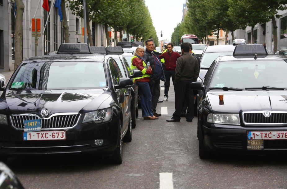 Taksi vairuotojų protestas Briuselyje