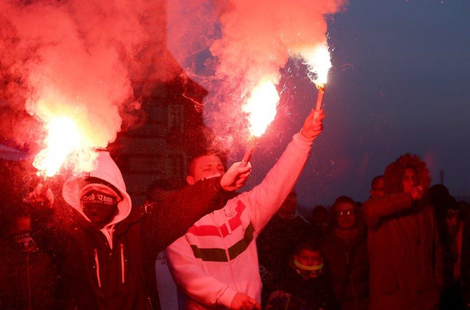 Protestas prieš pabėgėlius Varšuvoje