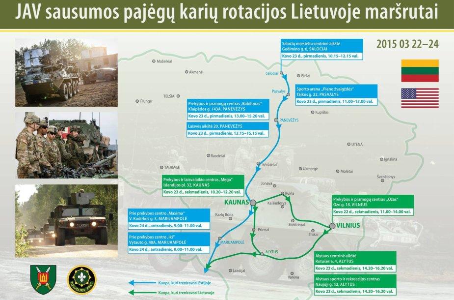 JAV karių maršrutas per Lietuvą