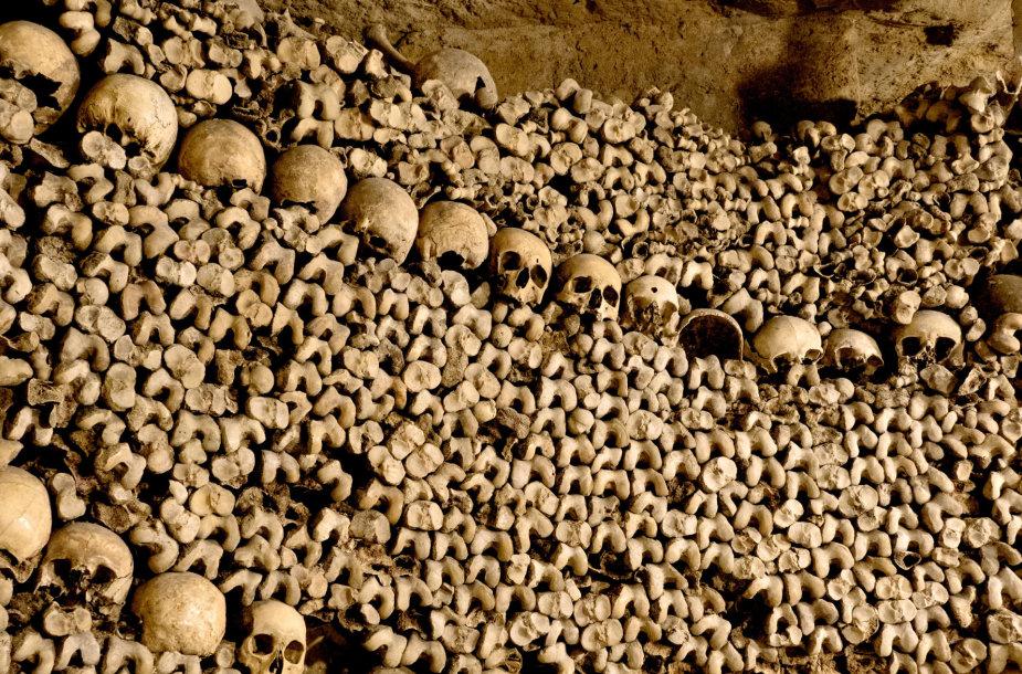 Šiurpumu garsėjančios Paryžiaus katakombos