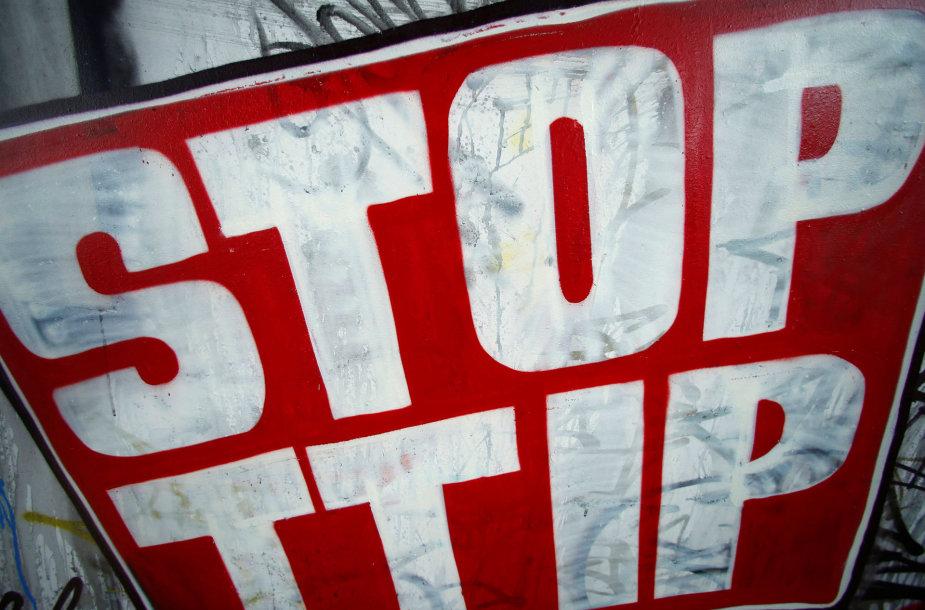 Prieš TTIP nukreiptas plakatas Frankfurte