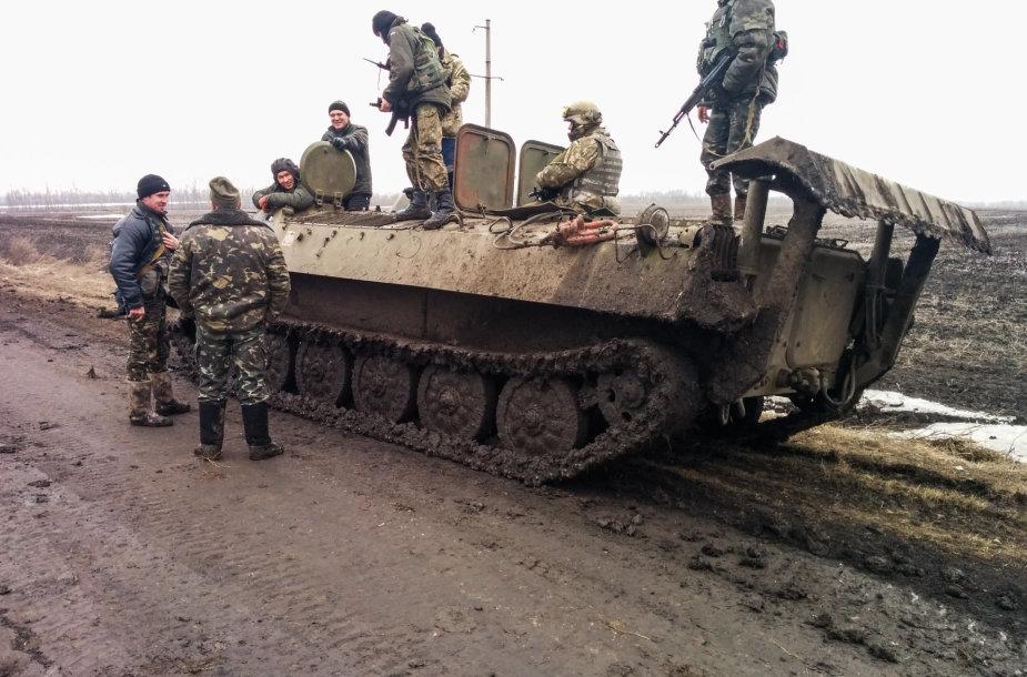 Ukrainos pozicijos prie sienos su Rusija