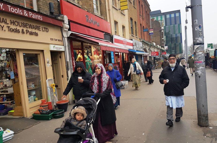 Musulmonų gausiai apgyvendintas Londono Vaitčapelio rajonas