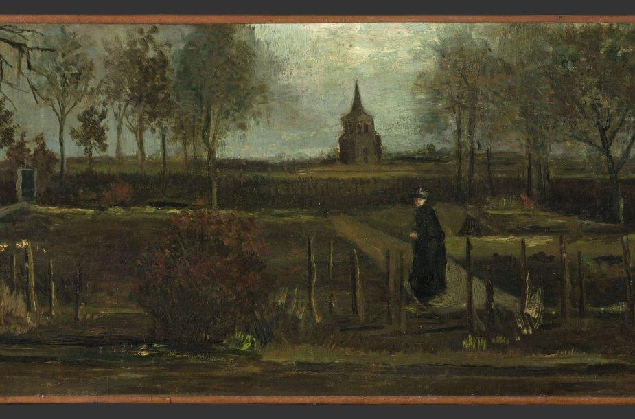 """Vincento van Gogo paveikslas """"Klebonijos sodas Niunene pavasarį"""""""