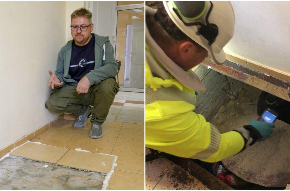 Įmonės nuomojamose patalpose po grindimis rastas nuotekų šulinys