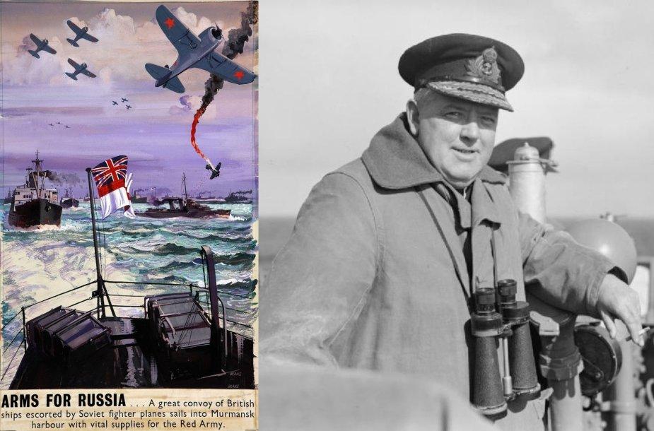 Karo laikų britų atvirukas ir Admirolas Stuart  Bonham Carter'is