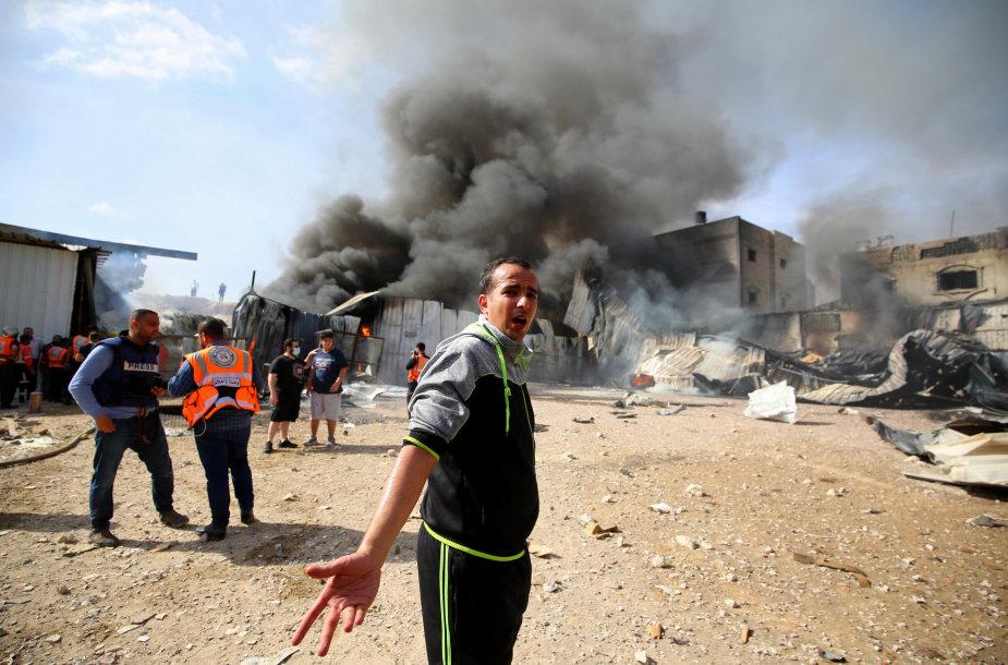Gazos Ruožas po Izraelio smūgių