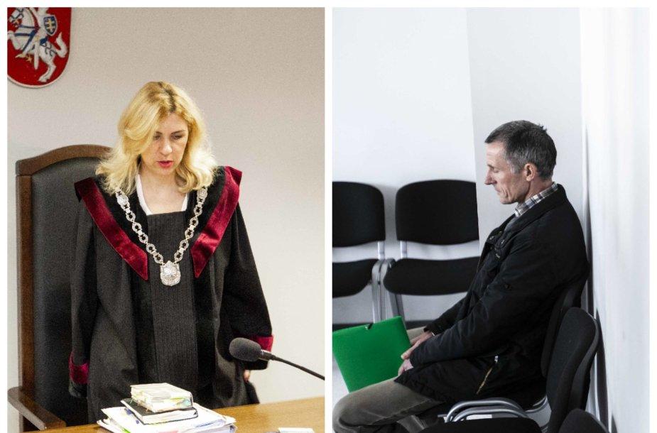 Teisėja Evelina Petraitienė ir kaltinamasis Kęstutis Kiltinavičius