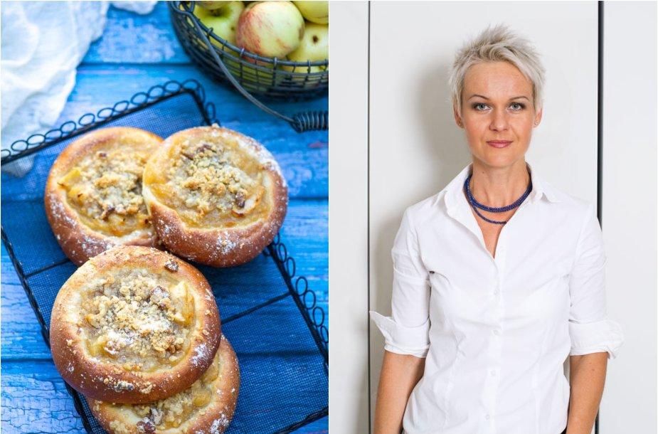 Nida Degutienė ir jos keptos bandelės su obuolių tyre