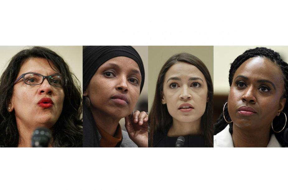Rashida Tlaib, Ilhan Omar, Alexandria Ocasio-Cortez ir Ayanna Pressley