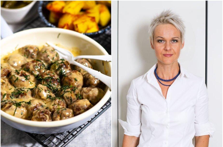 Nida Degutienė ir jos gaminti švediški mėsos kukuliukai