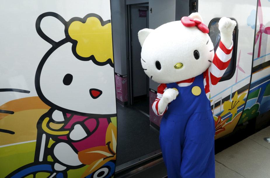 """Greitasis traukinys, papuoštas """"Hello Kitty"""" atvaizdais"""