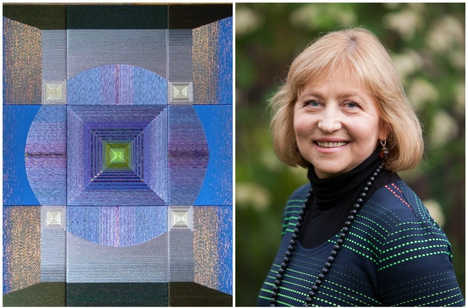 """Atidaroma optinės tekstilės kūrėjos Danguolės Brogienės paroda """"Mėlynos mintys"""""""