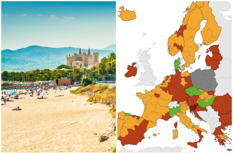 Sergamumas COVID-19 Europos šalyse. Rugsėjo 23 d. Maljorka palieka raudonąją zoną