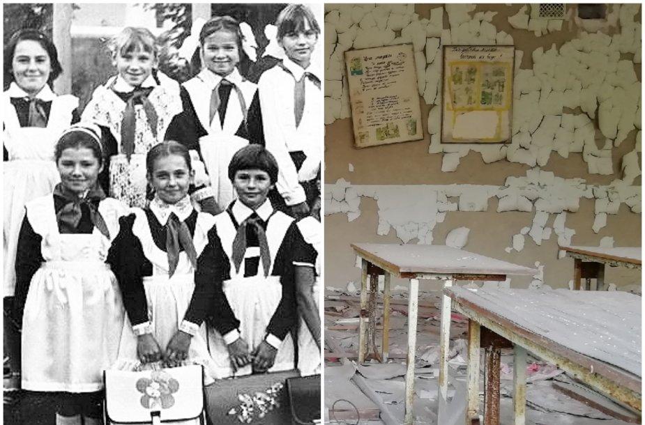 Tatjanos klasė 1985 m. ir kaip mokykla Černobylyje atrodo dabar