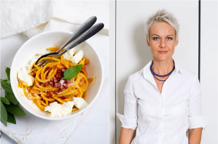 Nida Degutienė ir jos gamintas patiekalas