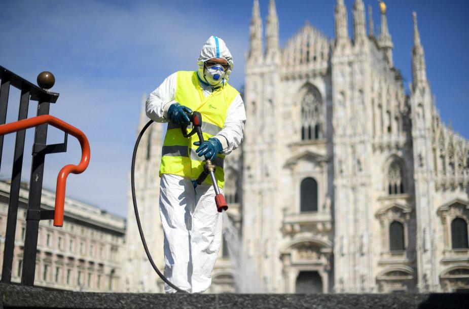 Dezinfekuojamos Milano gatvės