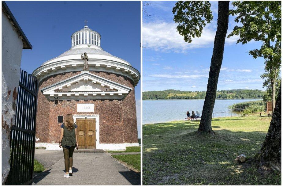 Kalvių bažnyčia ir pliažas prie ežero