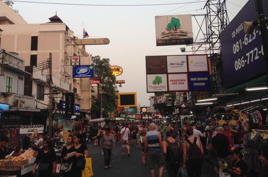 Turistų rajonas Khao San Road, Bankokas