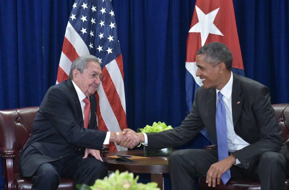 Raulis Castro ir Barackas Obama