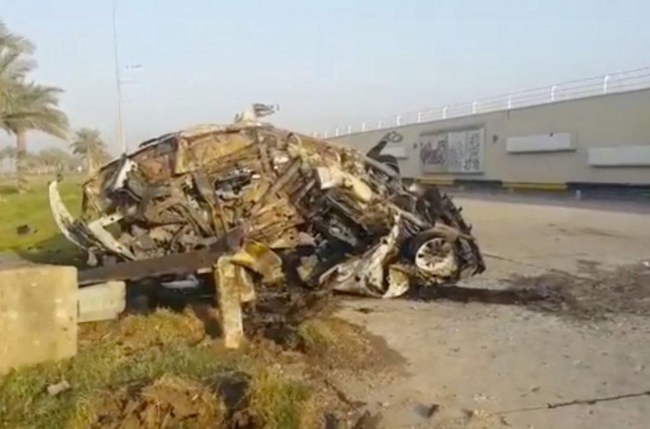 Mašina, kuria važiavo ir kurioje žuvo Qasemas Soleimani