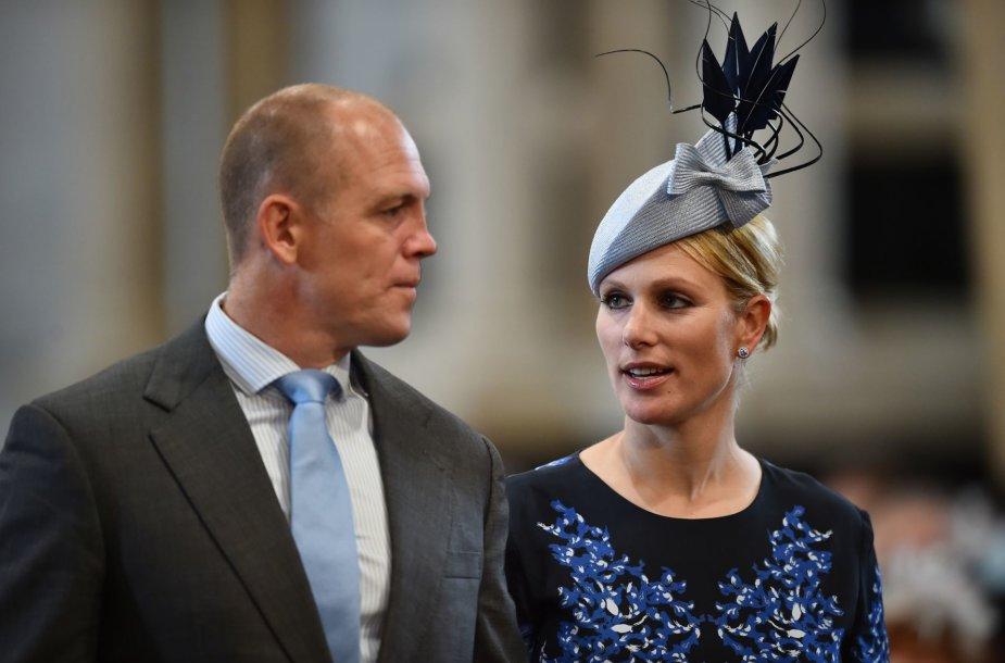 Karalienės vaikaitė Zara Tindall su vyru Mike'u Tindallu
