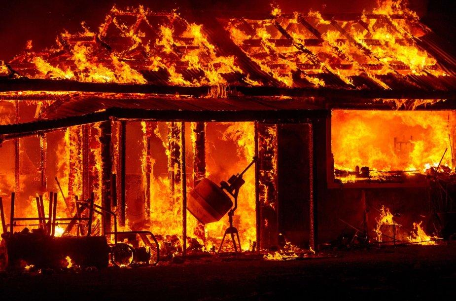 Išplitęs miškų gaisras siautėjo Kalifornijos Midltaune