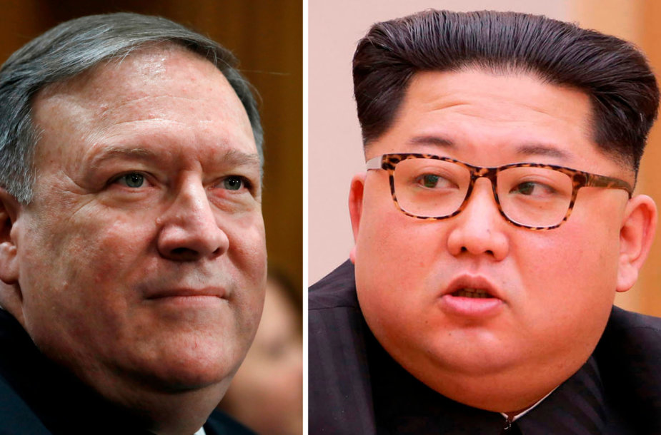 Mike'as Pompeo ir Kim Jong Unas
