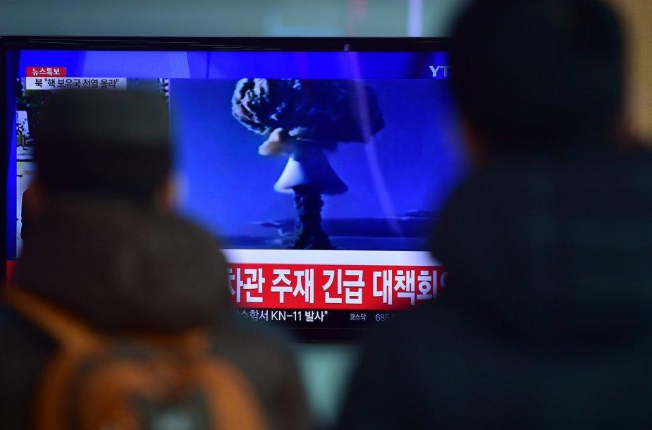 Šiaurės Korėja teigia sėkmingai išbandžiusi termobranduolinę bombą