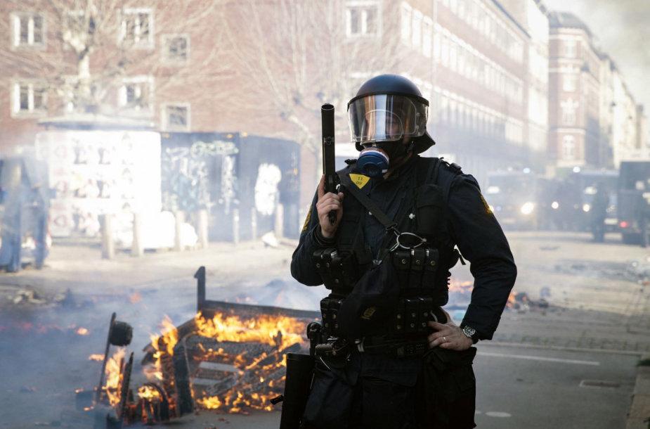 Riaušės imigrantų rajone Kopenhagoje