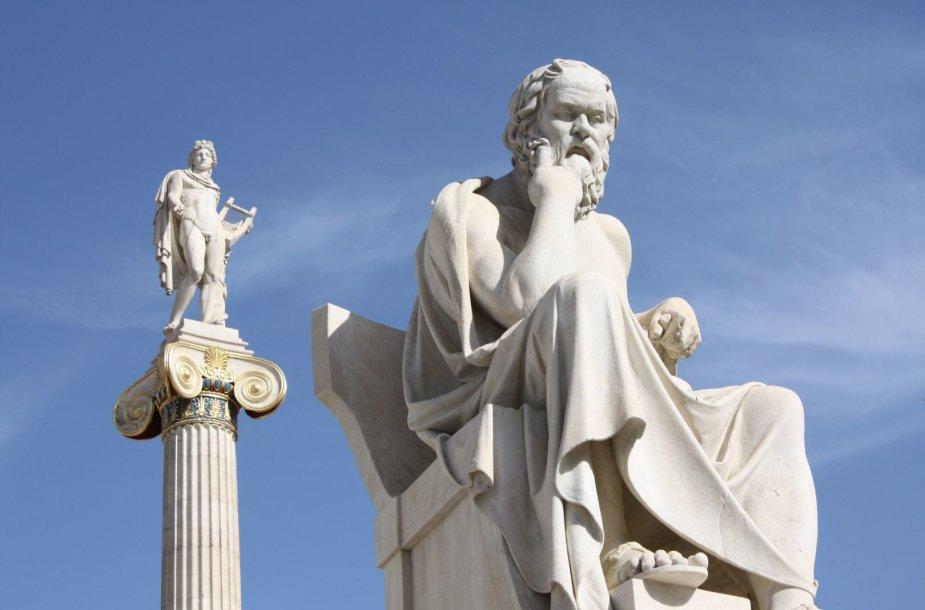 Graikų filosofo Sokrato skulptūra Atėnuose