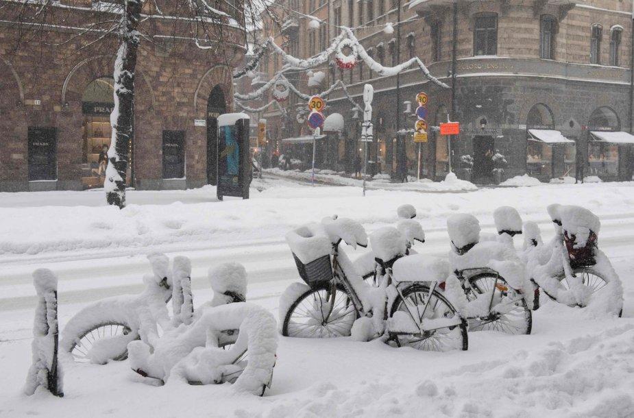 Stokholme – lapkričiui rekordinis kiekis sniego