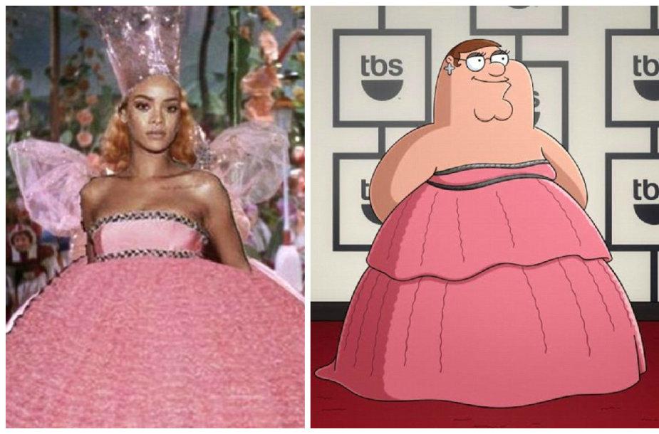 Rihannos suknelė tapo internautų įkvėpimo šaltiniu