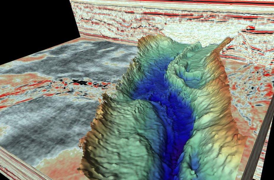 Šiaurės jūros dugno 3D vaizdas