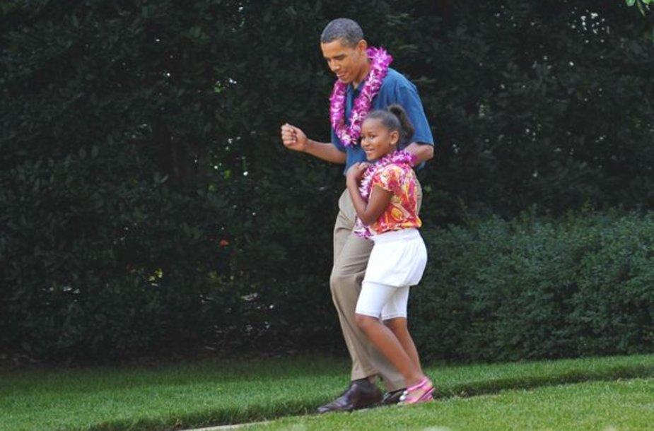 Barackas Obama ir dukra Sasha