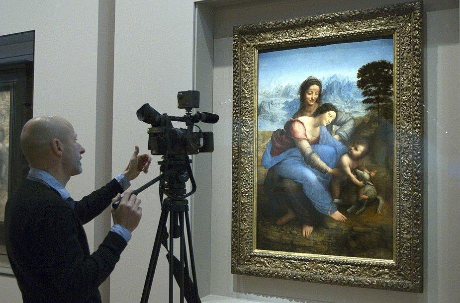 """Leonardo da Vinci šedevras """"Šv. Ona su Madona ir kūdikėliu Jėzumi"""" Luvro muziejuje"""