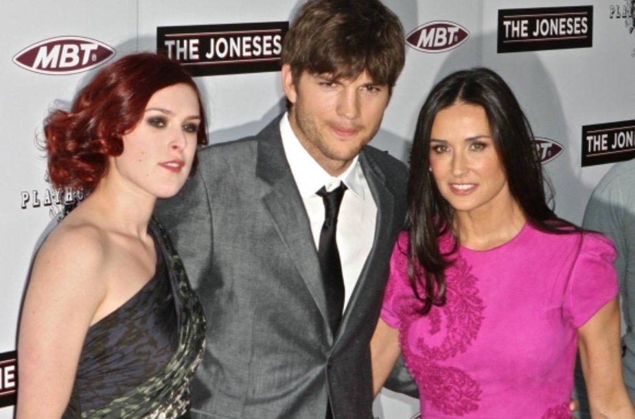 Ashtonas Kutcheris ir Demi Moore su aktorės dukra Rumer Willis