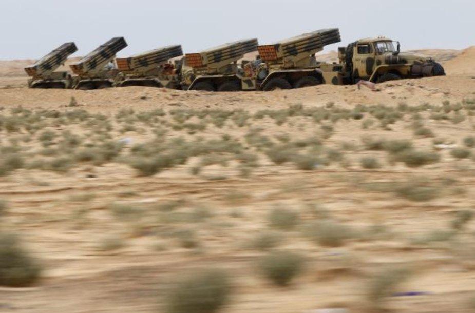 Libijos vyriausybinių pajėgų reaktyvinės artilerijos įrenginiai