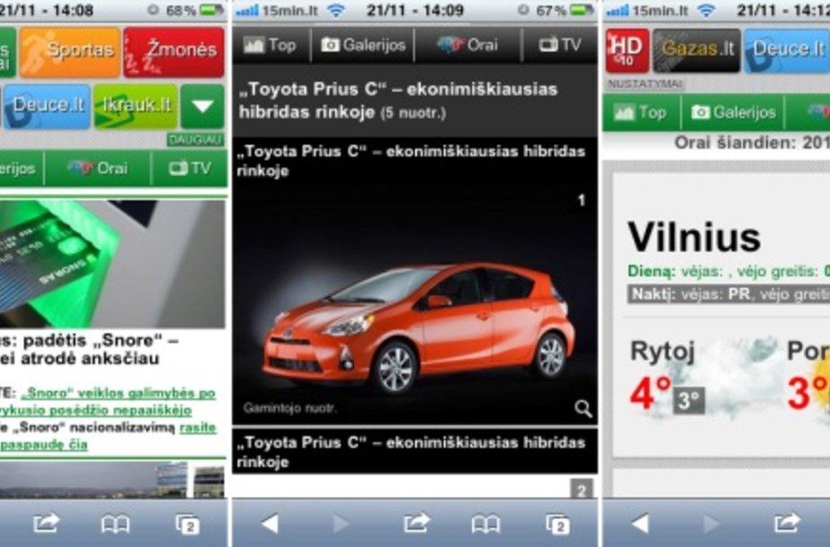 Nauja mobilioji naujienų portalo 15min.lt versija