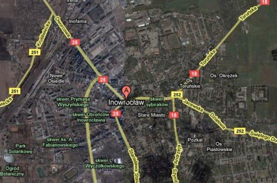 Sraigtasparnis nukrito netoli Inovroclavo miesto, pažymėto žemėlapyje