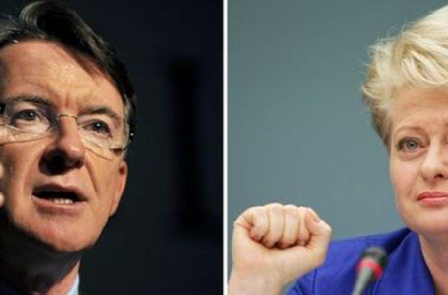Peteris Mandelsonas ir Dalia Grybauskaitė buvo ryškiausi šios kadencijos komisarai.