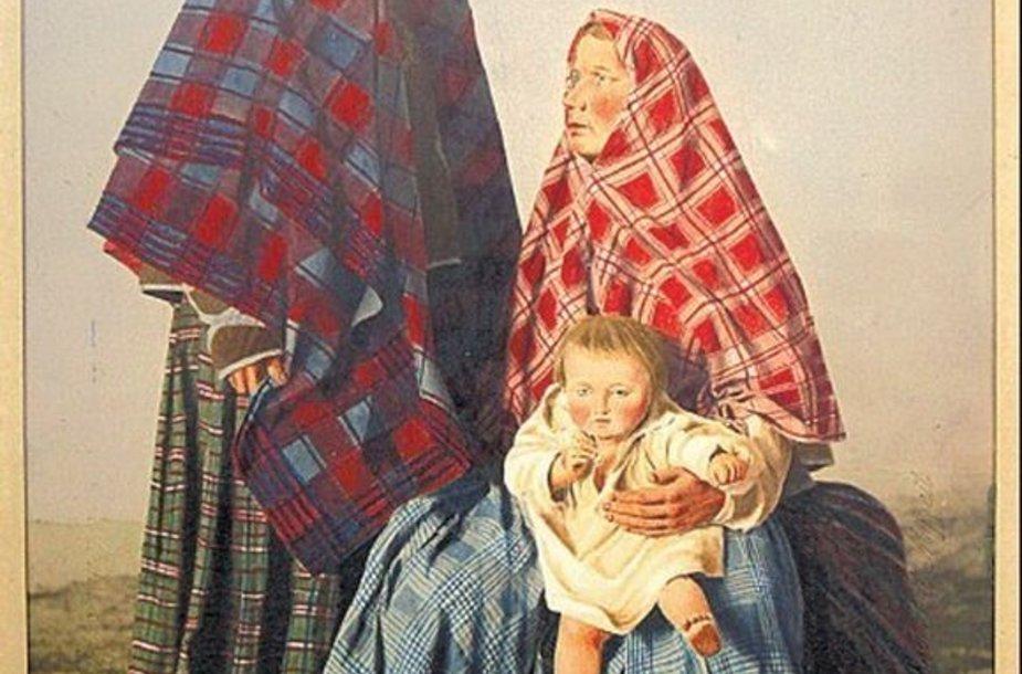 Per pirmąją Rusijos imperijos tautų etnografinę parodą taip buvo pristatytos Kaunos gubernijos moterys.