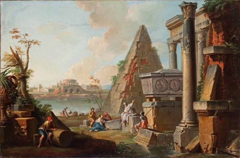 Dz.P.Paninis. Antikinės Romos griuvėsiai su Cestijaus piramide.