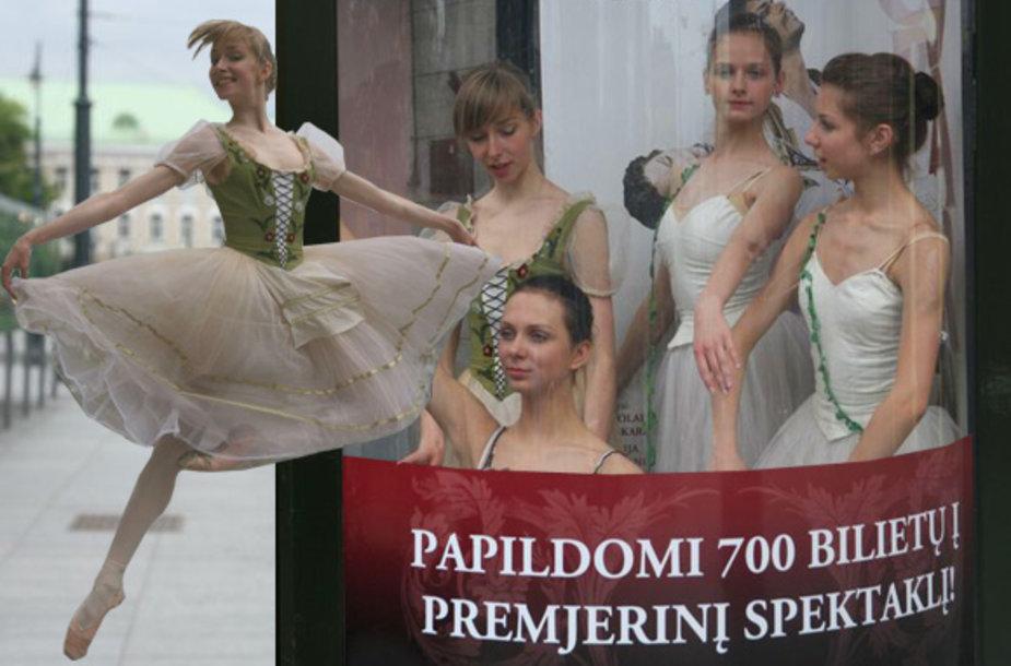 """Maskvos Didžiojo teatro baletą """"Korsaras"""" reklamavo gyvos balerinos"""