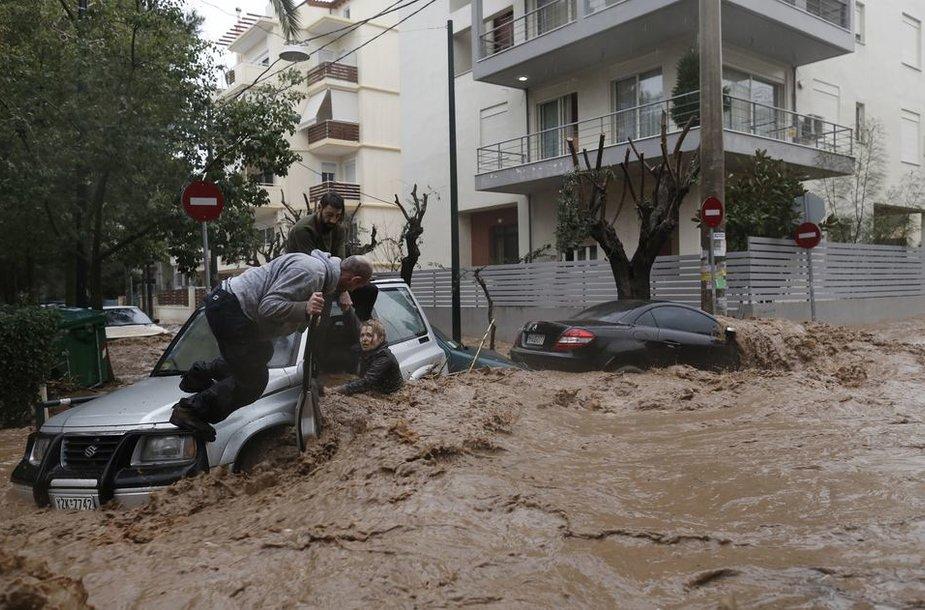 Potvynis Graikijoje.