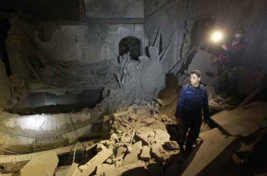 Sugriautas pastatas Tripolyje
