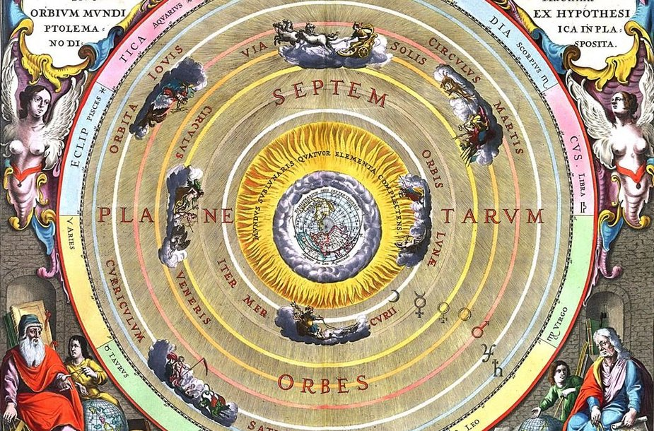 Geocentrinė Aristotelio-Ptolemajo pasaulėdaros sistema ilgiau nei pusantro tūkstančio metų buvo visuotinai pripažįstamas visatos modelis. Iliustracijos šaltinis: www.astronomy.com