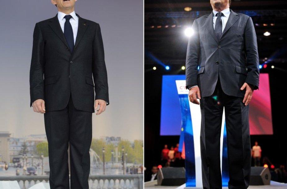 Nicolas Sarkozy (kairėje) ir Francois Hollande'as